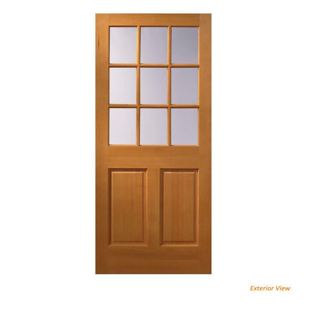 32 In X 80 In 9 Lite Unfinished Wood Front Door Slab 05384 The
