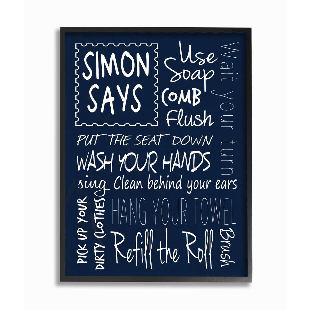 . 11 in  x 14 in   Simon Says Bath Rules Chalkboard Bathroom  by Regina  Nouvel Wood Framed Wall Art