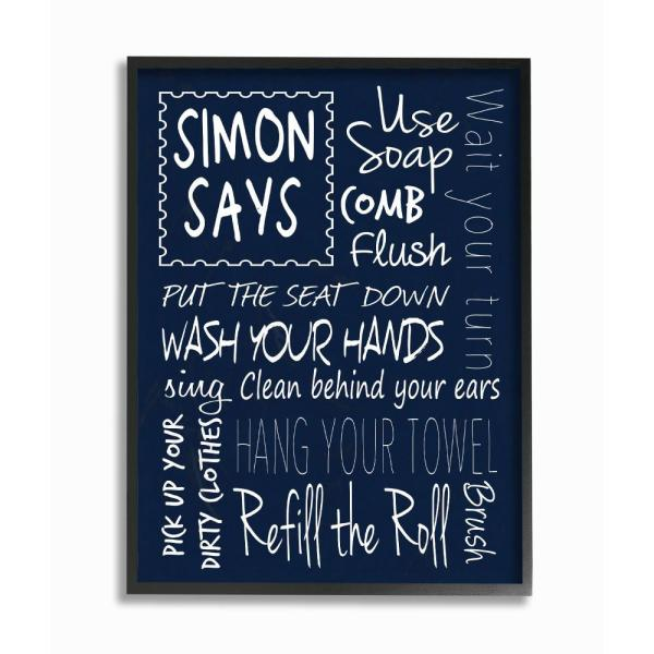 11 In X 14 In Simon Says Bath Rules Chalkboard Bathroom By Regina Nouvel Wood Framed Wall Art