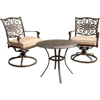 Traditions Aluminum Round Outdoor Bistro Set with 2-Swivel Rockers, Protective Cover and Natural Oat Cushions (3-Piece)