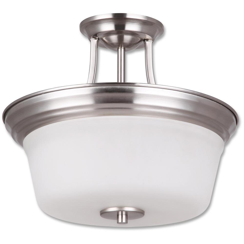 Seattle Collection 2-Light Satin Nickel Semi-Flush Mount Light