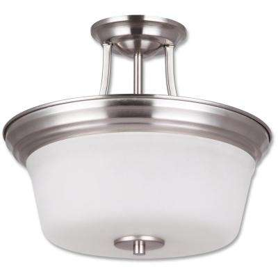 Seattle Collection 2-Light Satin Nickel Semi-Flushmount Light
