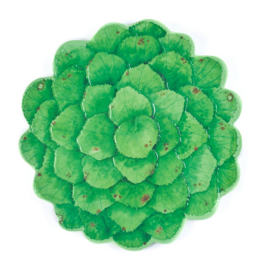 Botanical Green Melamine Galax Leaf Platter