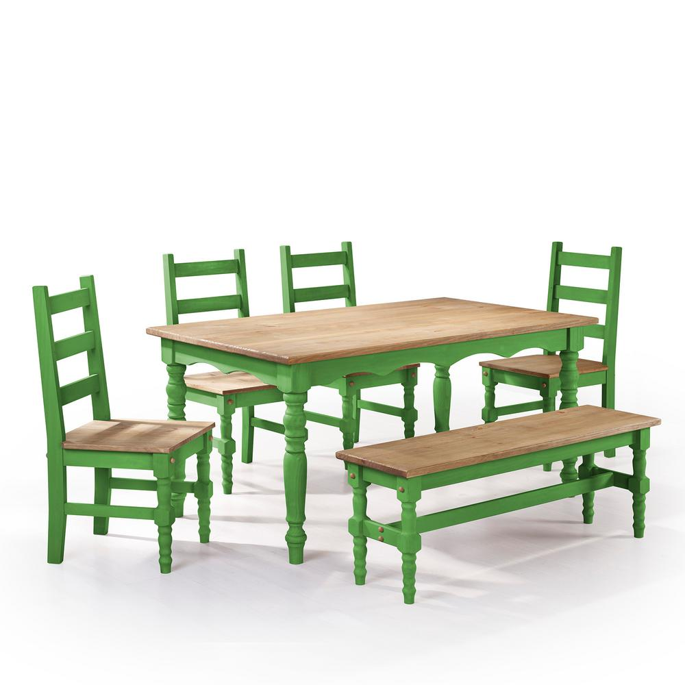 Manhattan Comfort Jay 6 Piece Green Wash Solid Wood Dining Set With 1 Bench 4 Chairs And 1