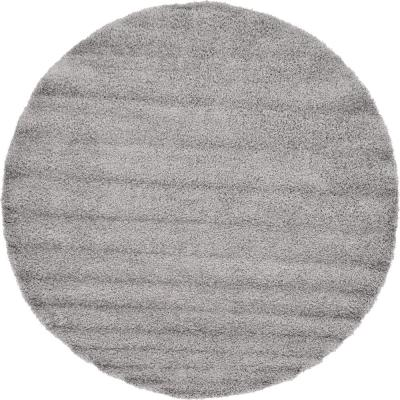 Solid Shag Cloud Gray 8 ft. Round Area Rug