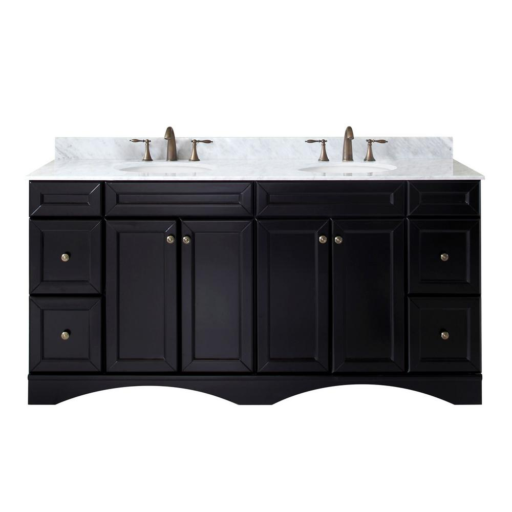 Virtu USA Talisa 72 in. W Bath Vanity in Espresso with Marble Vanity Top in White with Round Basin