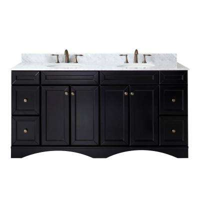 Talisa 72 in. W Bath Vanity in Espresso with Marble Vanity Top in White with Round Basin