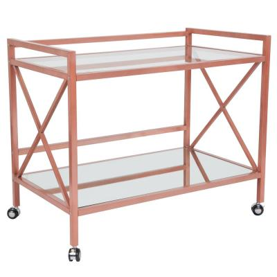 Clear/Rose Gold Bar Cart With Wheels