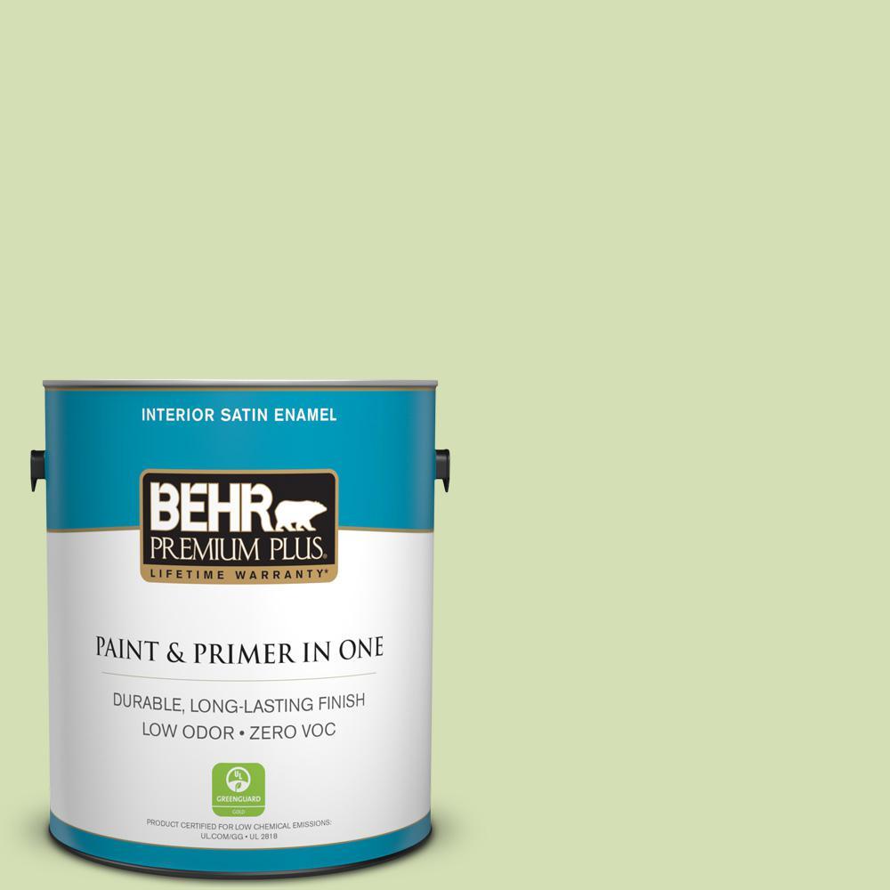 BEHR Premium Plus 1-gal. #420C-3 Celery Bunch Zero VOC Satin Enamel Interior Paint