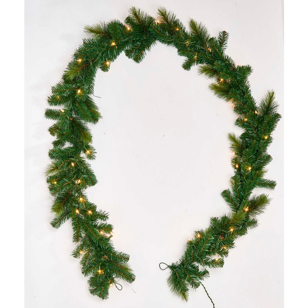 0 8 Ft Pine Garland With Lights 7158 The Home Depot