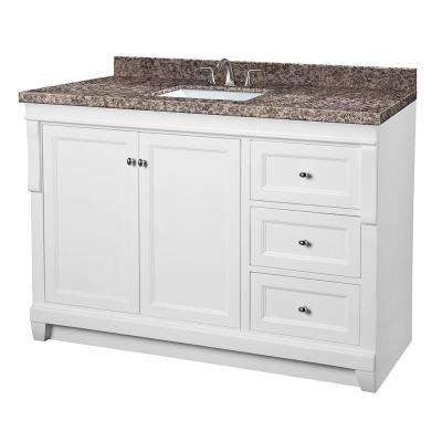 Naples 49 in. W x 22 in. D Vanity in White with Granite Vanity Top in Sircolo and White Basin