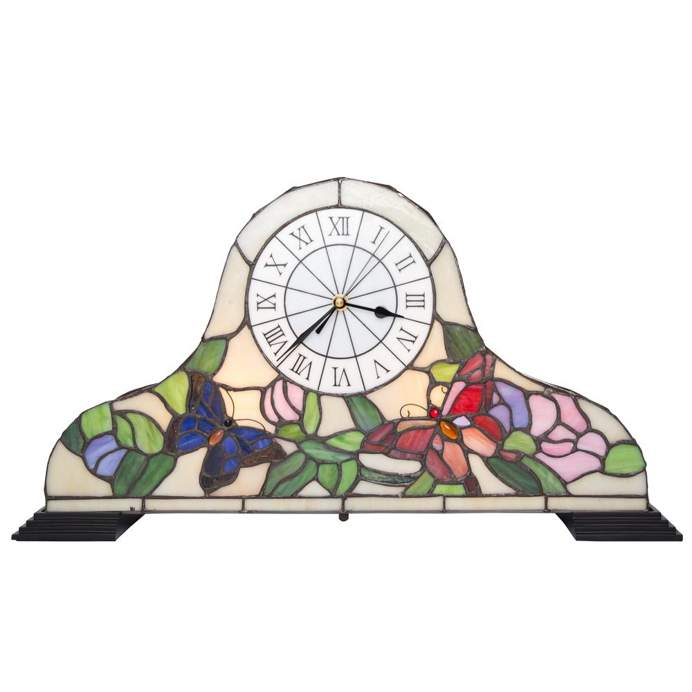 12 in. Multi-Colored Stained Glass Butterfly Clock Accent Lamp