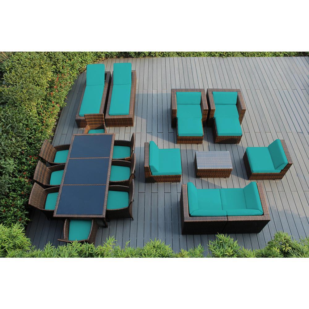 Mixed Brown 20-Piece Wicker Patio Combo Conversation Set with Sunbrella Aruba Cushions