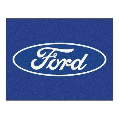 Ford - Oval Blue 4 ft. x 3 ft. Indoor Rectangle Area Rug