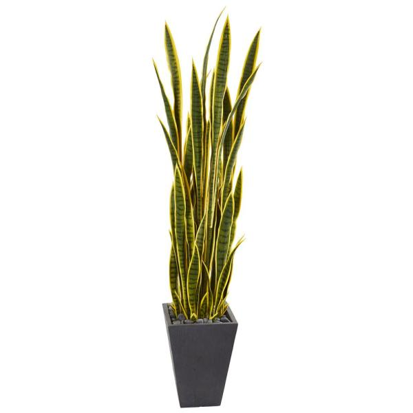 Nearly Natural 5.5 ft. Sansevieria Artificial Plant in Slate Planter 9549