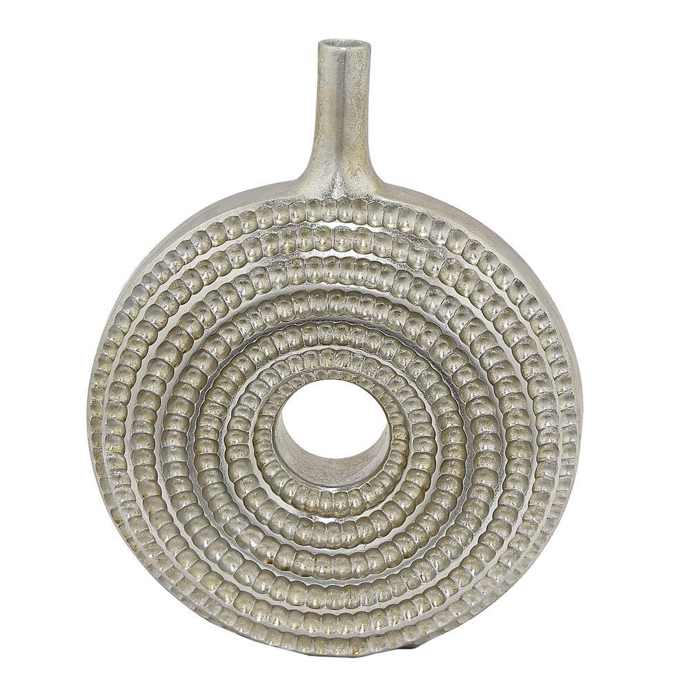 Silver Resin Textured Decorative Vase