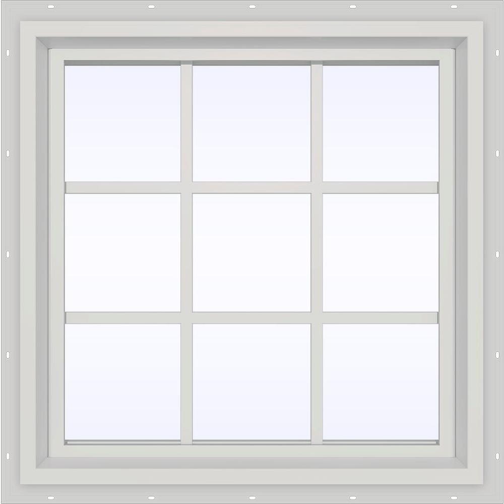JELD-WEN 35.5 in. x 29.5 in. V-4500 Series White Vinyl Fixed Picture Window with Colonial Grids/Grilles
