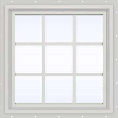 35.5 in. x 35.5 in. V-4500 Series Fixed Picture Vinyl Window with Grids in White