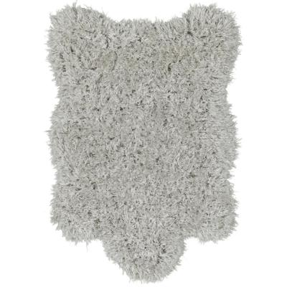 Pure Fuzzy Flokati Lambskin Design Grey 2 ft. x 3 ft. Faux Sheepskin Indoor Kids Area Rug