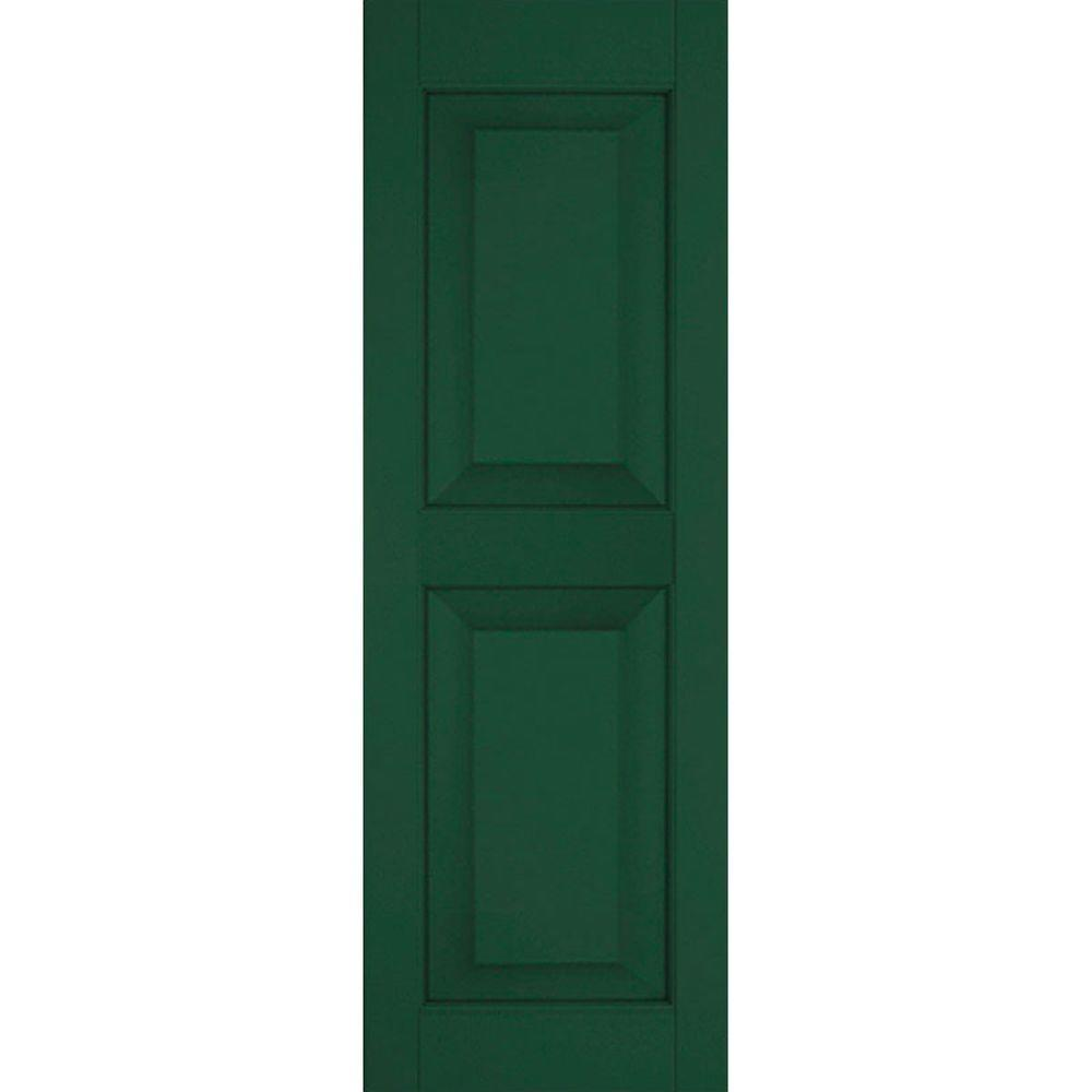 Ekena Millwork 15 in. x 30 in. Exterior Real Wood Western Red Cedar Raised Panel Shutters Pair Chrome Green