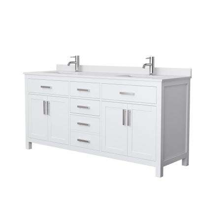 Beckett 72 in. W x 22 in. D Double Bath Vanity in White with Cultured Marble Vanity Top in White with White Basins
