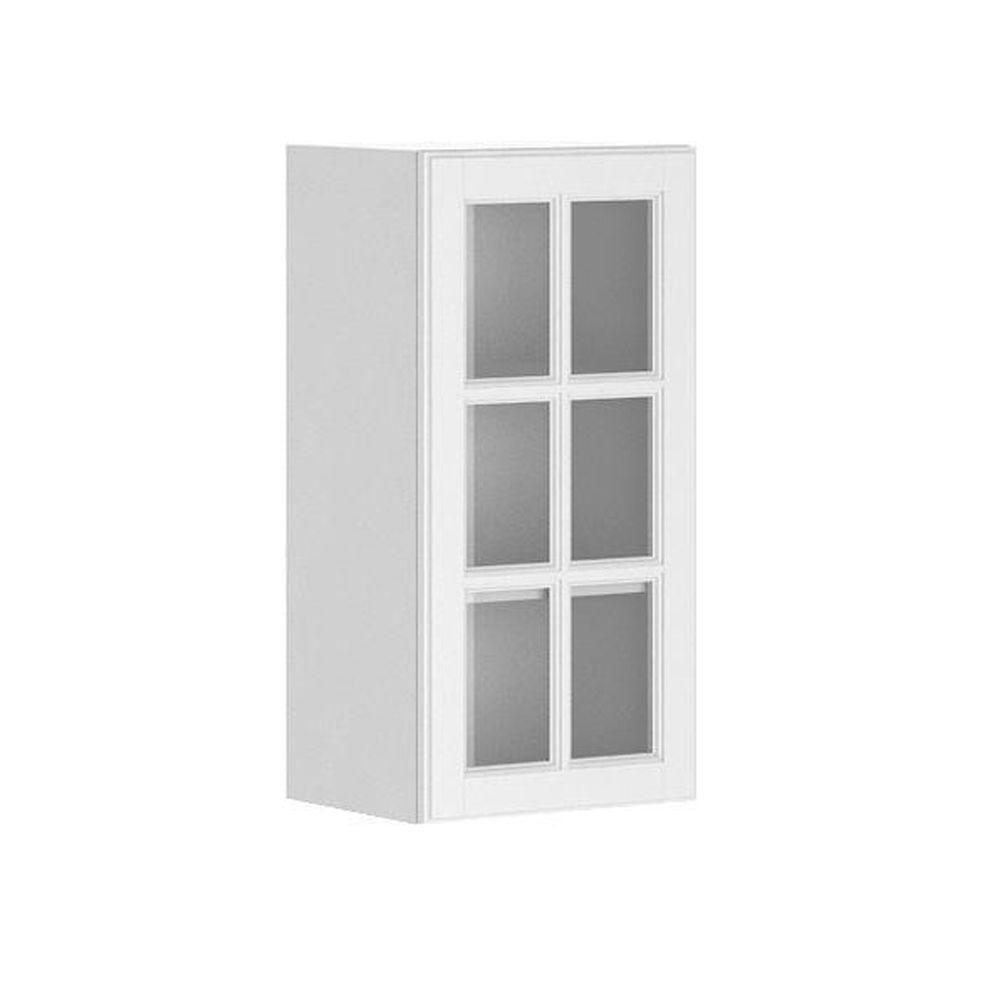 Eurostyle Ready to Assemble 15x30x12.5 in. Birmingham Wall Cabinet in White Melamine and Glass Door in White