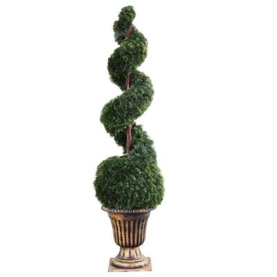 66 in. Cedar Spiral Tree with Ball in Black and Gold Urn