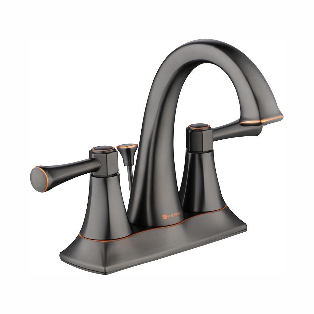 Glacier Bay Stillmore 4 in. Centerset 2-Handle High-Arc Bathroom Faucet in Bronze