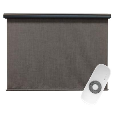 Tide Pool Cordless UV Blocking Motorized PVC Outdoor Roller Shade Rechargeable DC Motor 120 in. W x 96 in. L