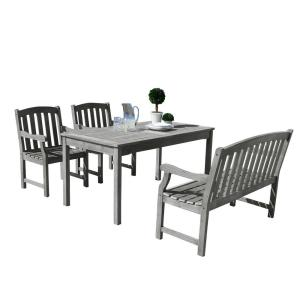 Vifah Renaissance Hand-Scraped Wood 4-Piece Outdoor Dining Set with 4 ft. Bench by Vifah