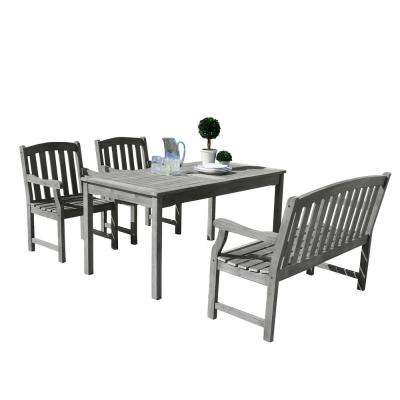 Renaissance Hand-Scraped Wood 4-Piece Outdoor Dining Set with 4 ft. Bench