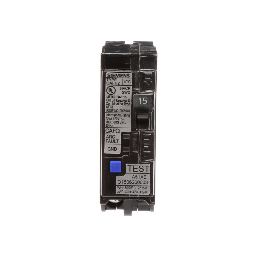 siemens 15 amp single pole circuit breaker qafh2 combo afci qa115afch the home depot. Black Bedroom Furniture Sets. Home Design Ideas