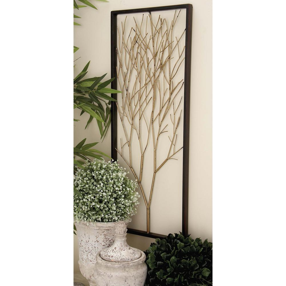 Litton Lane Metallic Silver Gold And Copper Triptych Tree Wall Art Set Of 3