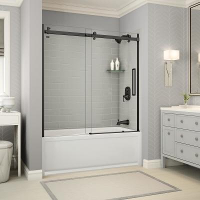 Utile Metro 32 in. x 60 in. x 81 in. Bath and Shower Kit with New Town Right Hand Drain in Soft Grey