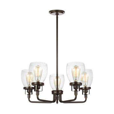 Belton 5-Light Heirloom Bronze Chandelier with Clear Seeded Glass Shades