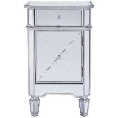 Silver and Clear Single Drawer Mirrored Accent Cabinet