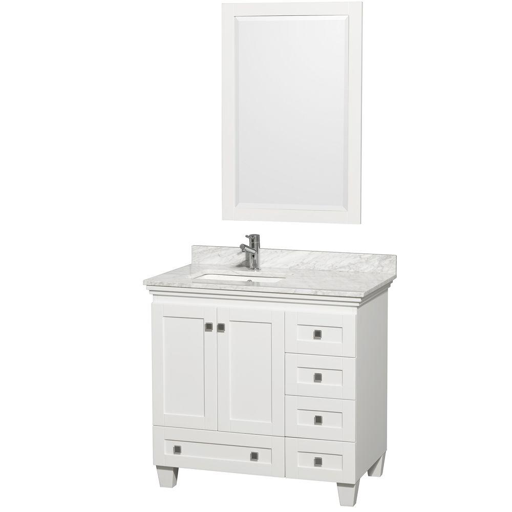Acclaim 36 in. Vanity in White with Marble Vanity Top in