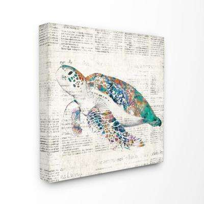 "30 in. x 30 in. ""Multi Colored Sea Turtle on Aged Newspaper"" by Main Line Art and Design Printed Canvas Wall Art"
