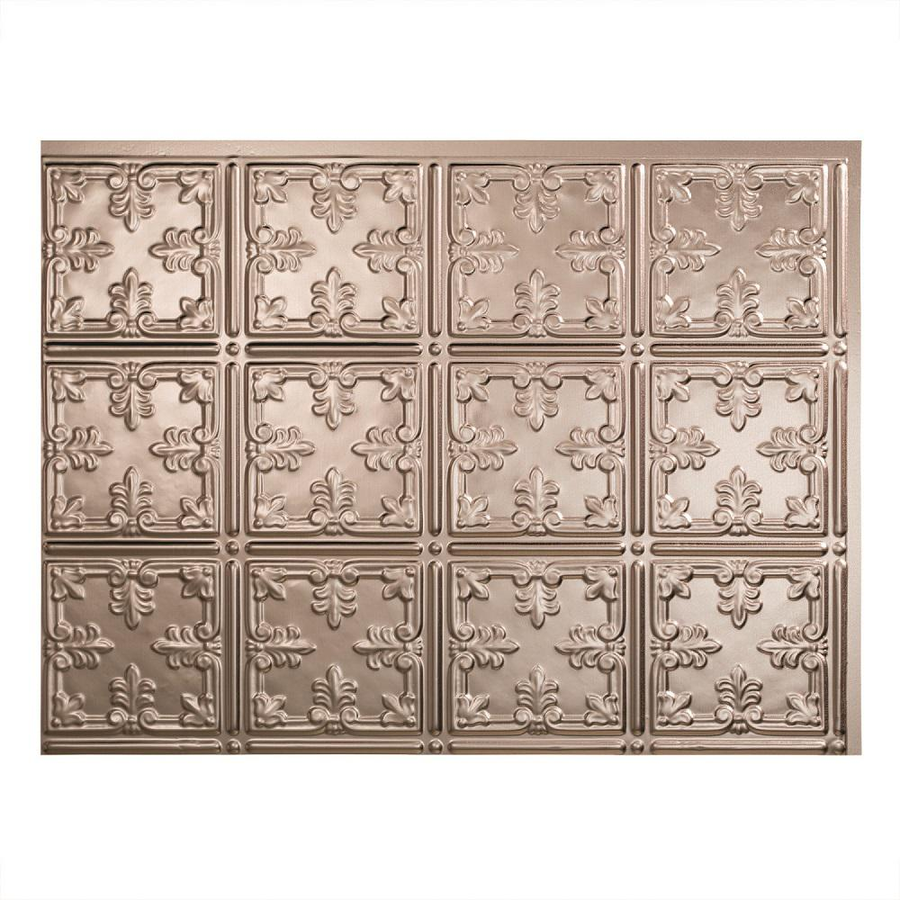 Fasade 24 in. x 18 in. Traditional 10 PVC Decorative Backsplash Panel in Brushed Nickel