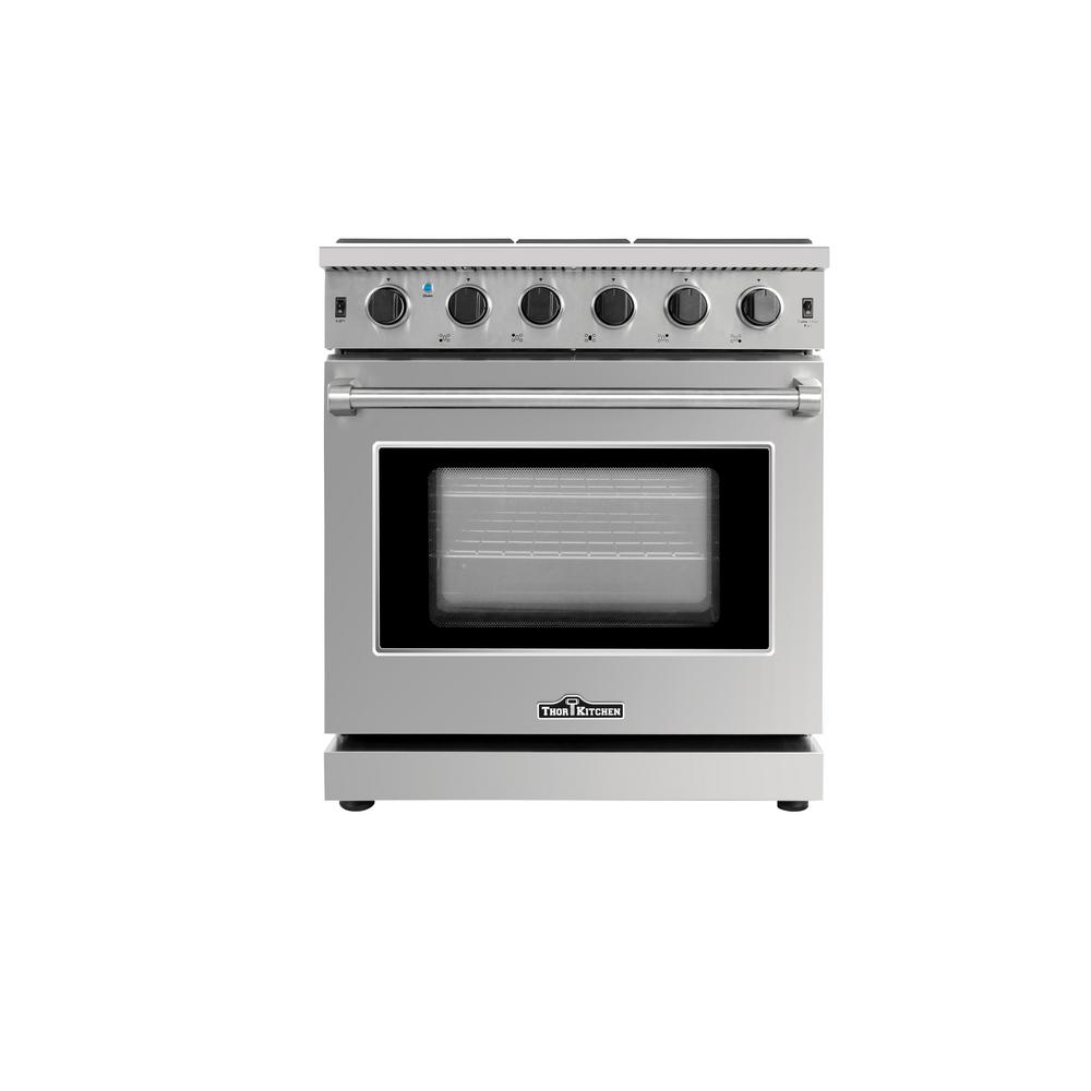 Thor Kitchen 30 in. 4.55 cu. ft. Professional Gas Range in Stainless Steel (Silver) This 30 in. Professional Style Gas Range will fulfill all your cooking desires. Main features include a total of 45,000 BTU's on the cooktop. The cooktop comes with an oval burner which can accommodate a large griddle pan to promote even cooking. Includes One 4.55 cu ft. 18,500 BTU oven which contains a commercial convection fan along with a 10,000 BTU Oven Broiler. Continuous grating to facilitate the movement of large cookware. Color: Stainless Steel.