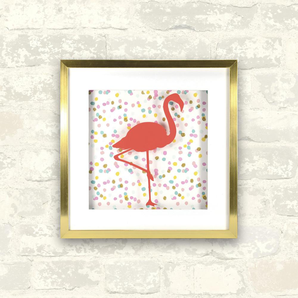 12 in. x 12 in. Confetti Flamingo 1-Piece Shadowbox with Mat,