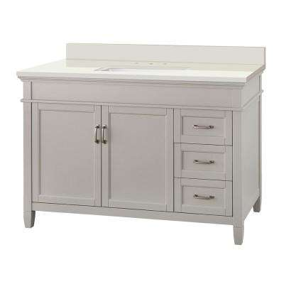 Ashburn 49 in. W x 22 in. D Vanity in Grey with Engineered Marble Vanity Top in Winter White with White Sink