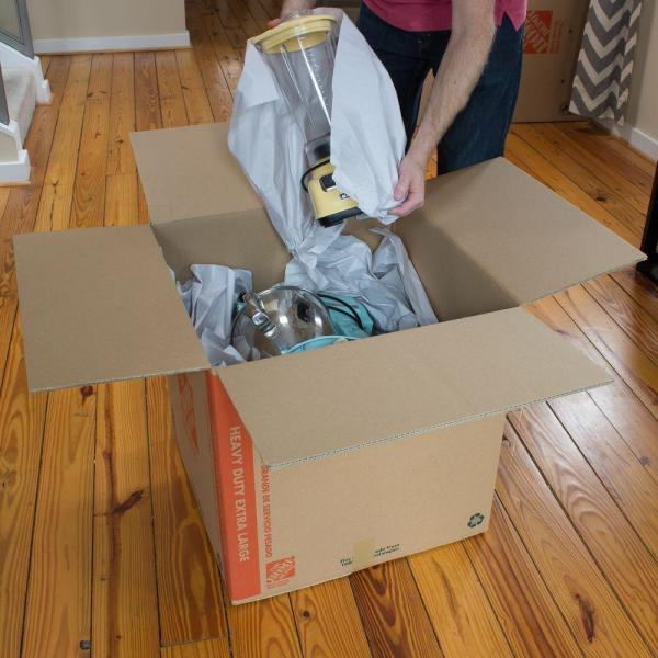 The Home Depot 24 In L X 20 In W X 21 In D Heavy Duty Extra Large Moving Box With Handles Hdxlbx The Home Depot