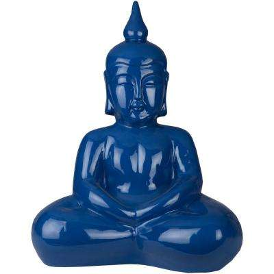 Harikiran 17 in. x 20.75 in. Decorative Buddha Sculpture in Dark Blue