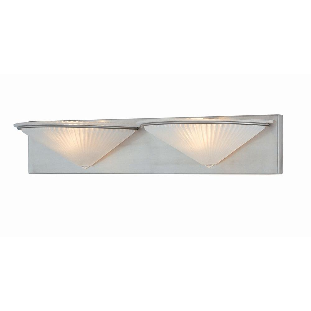Illumine 2-Light Polished Steel Vanity Lamp with Frost Glass