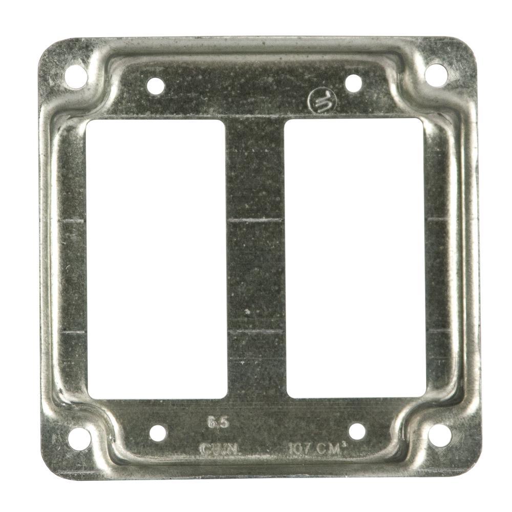 """*NEW* 4-11//16/"""" Square Cover 2 GFCI// Decorator 1//2/"""" Raised Gray Industrial 5 pc"""