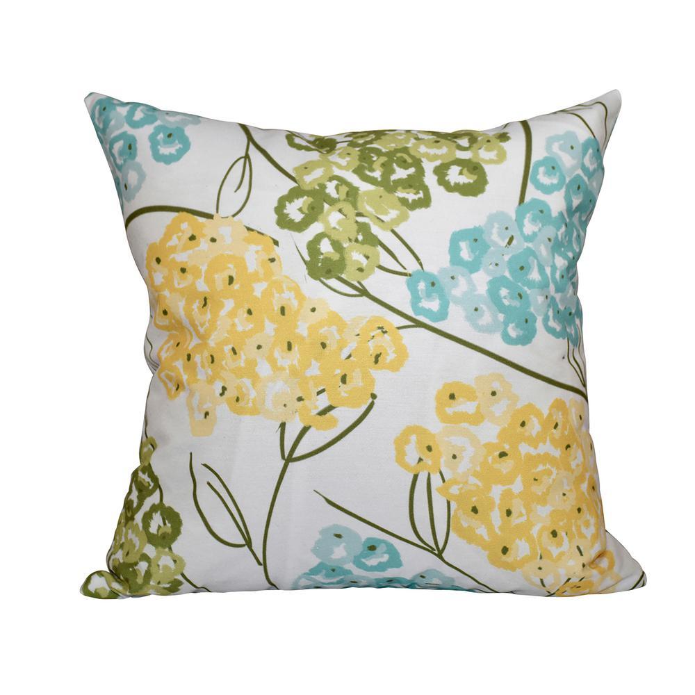 Yellow Hydrangeas Fl Print Pillow