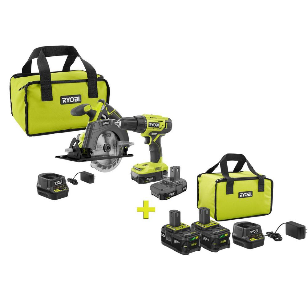 RYOBI 18-Volt ONE+ 2-Tool w/ Drill and Circular Saw Combo Kit w/ Bonus 2 PK 4.0 Ah Batteries, Bag, and Charger