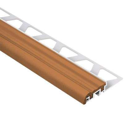 Trep-S Aluminum with Nut Brown Insert 3/8 in. x 4 ft. 11 in. Metal Stair Nose Tile Edging Trim