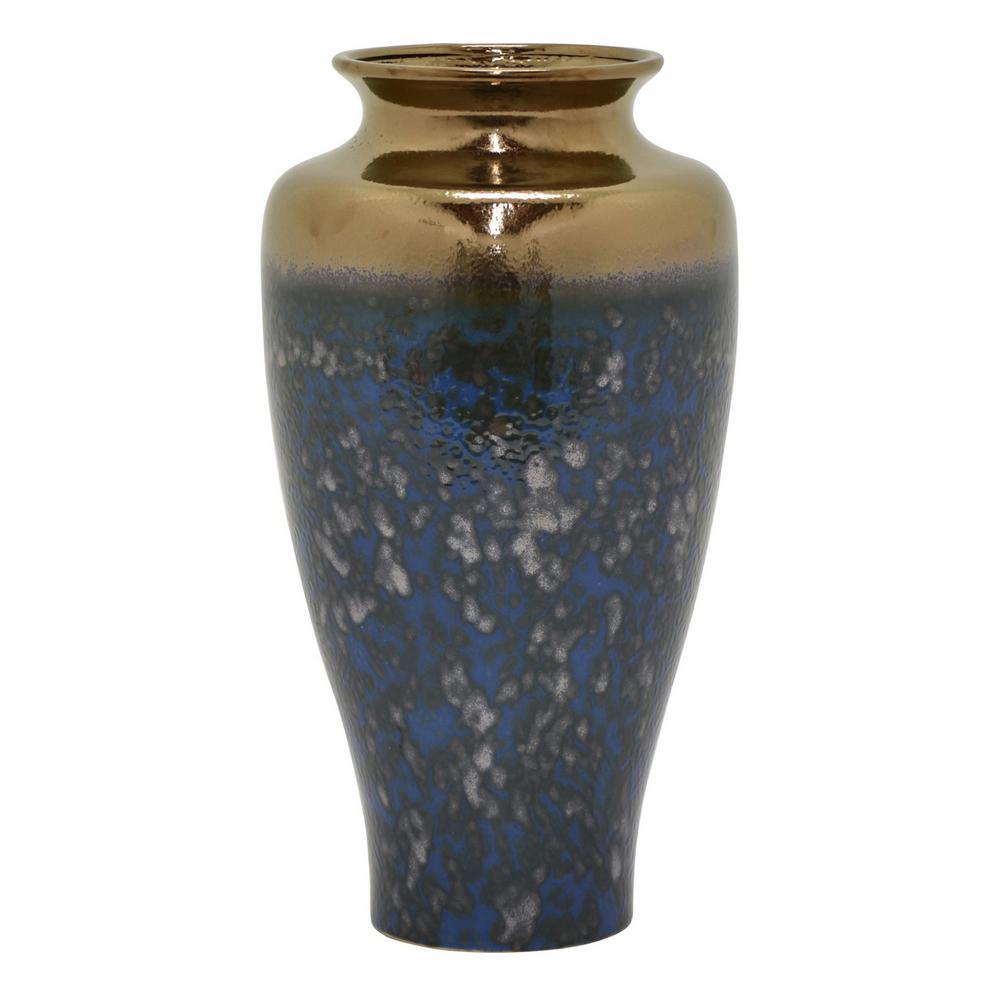 17.5 in. Blue Ceramic Vase